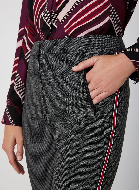 Houndstooth Print Contrast Trim Pants, Black, hi-res