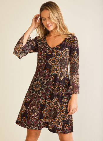 Paisley Print 3/4 Sleeve Dress, Black,  day dress, paisley, 3/4 sleeves, chiffon, fall winter 2020