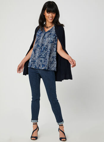 Paisley Print Sleeveless Top, Blue, hi-res