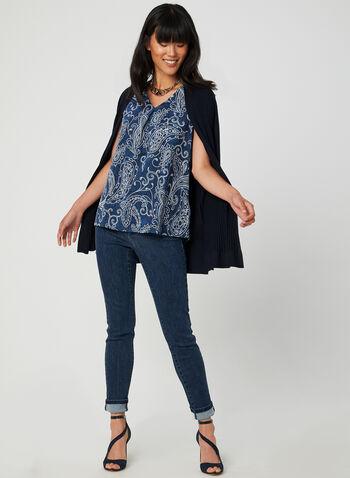 Paisley Print Sleeveless Top, Blue, hi-res,  Canada, jersey, sleeveless, top, V-neck, paisley print, fall 2019, winter 2019