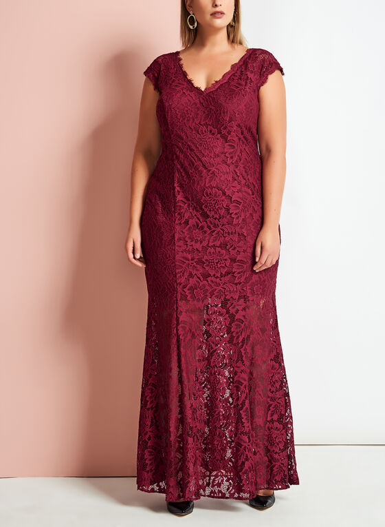 Scalloped Floral Lace Mermaid Gown, Red, hi-res