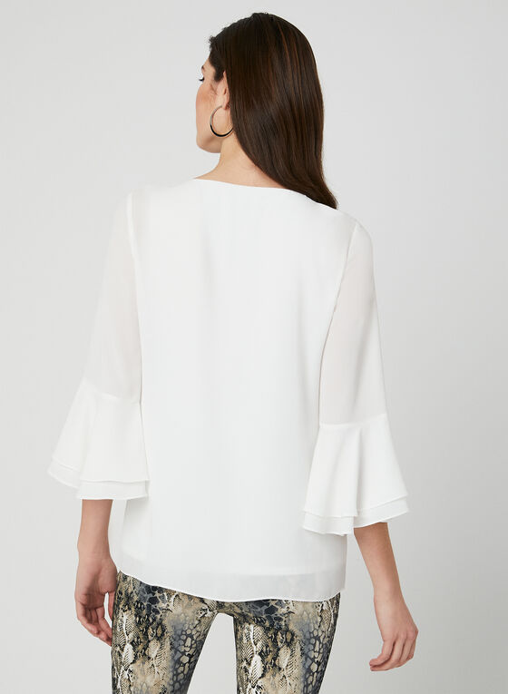 Ruffle Sleeve Chiffon Blouse, Off White, hi-res