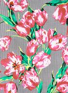 Foulard carré fleuri et chevrons, Noir, hi-res