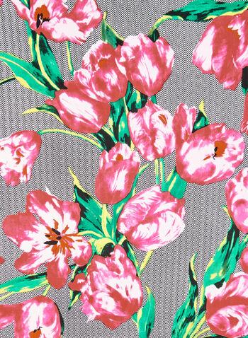 Square Herringbone Floral Print Scarf, Black, hi-res,  square scarf, herringbone print scarf