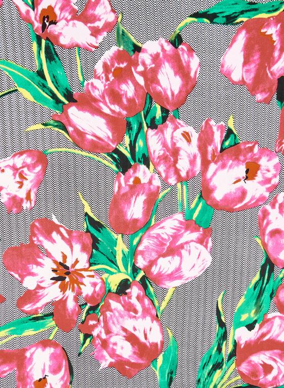 Foulard carré fleuri et chevrons, Noir