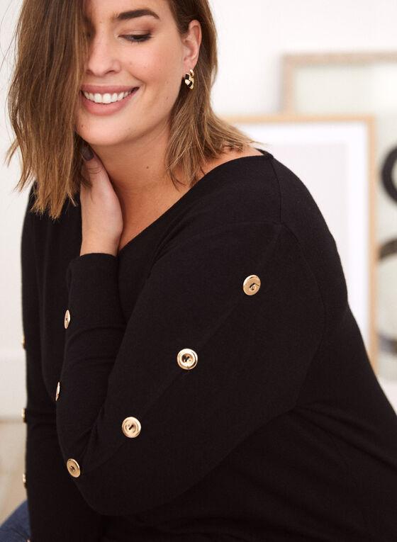 Button Detail Long Sleeve Top, Black