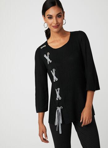 Pull en tricot à détails lacet et œillets, Noir, hi-res