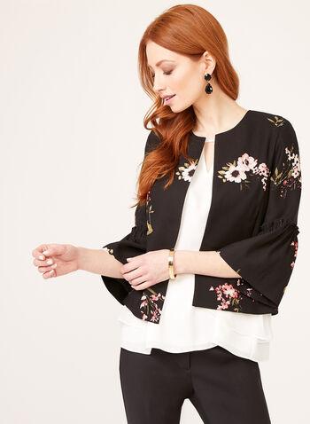 Veste imprimé floral à manches cloche, Noir, hi-res