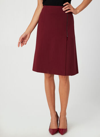 A-Line Skirt, Red,  zipper detail, a-line, short skirt, stretchy, fall 2019, winter 2019