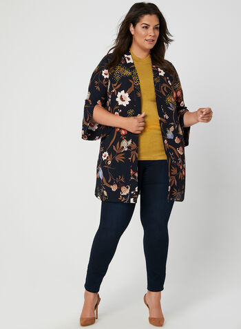 Floral Print Crepe Duster, Blue, hi-res,  kimono, tunic, duster, shawl collar, fall 2019, winter 2019