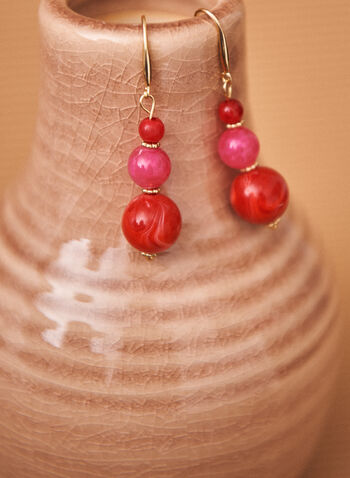 Tiered Stone Dangle Earrings, Red,  earrings, bead, stone, tiered, triple, metallic, hook, spring summer 2021