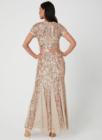 Sequin & Mesh Dress, Off White,  Spring 2019, evening dress, sequins, mesh