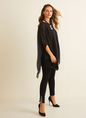 Asymmetric Chiffon Tunic, Black,  top, blouse, tunic, dolman, chiffon, asymmetric, spring summer 2020