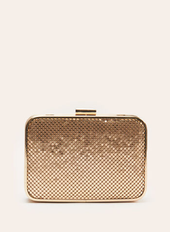Metallic Mesh Clutch, Gold, hi-res