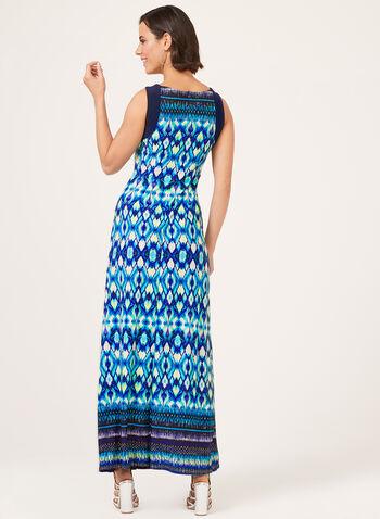 Robe maxi au col bijou et motif aztèque, Bleu, hi-res