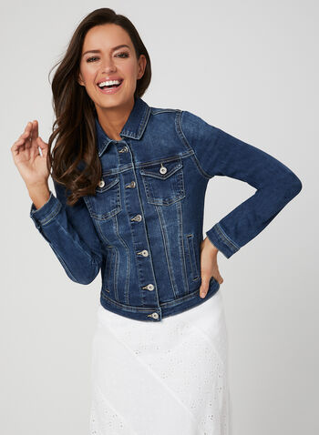 Stretchy Jean Jacket, Blue,  denim, buttons, stretchy, cotton, spring 2019