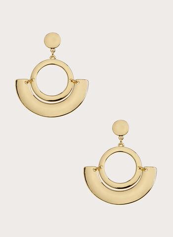 Geometric Pendant Dangle Earrings, Gold, hi-res