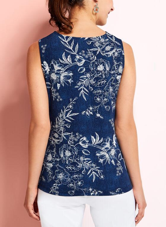 Sleeveless Floral Print Keyhole Top, Blue, hi-res