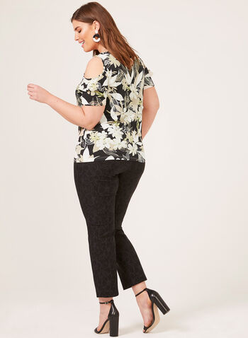 Floral Print Cold Shoulder Top, Brown, hi-res