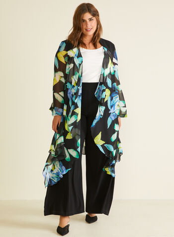 Joseph Ribkoff - Floral Print Open Front Tunic, Black,  tunic, blouse, floral print, cascade, open front, chiffon, spring summer 2020