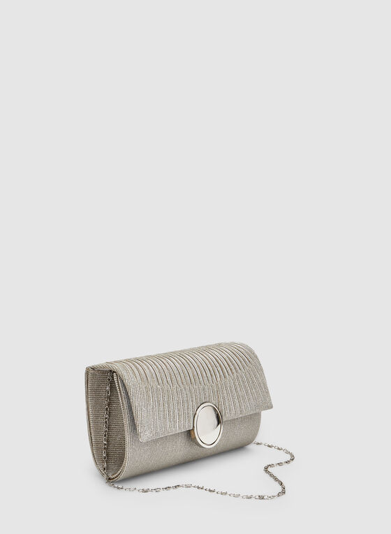 Pleated Flapover Clutch, Silver