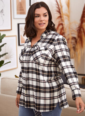 Plaid Print Button Front Shirt, White,  fall 2021, shirt, top, tops, blouse, button front, button down, closure, long sleeves, shirt collar, tightened cuffs, patch pockets, flaps, rhinestone, studded, stud, details, side slits, plaid, print, pattern, design, comfortable, stretchy