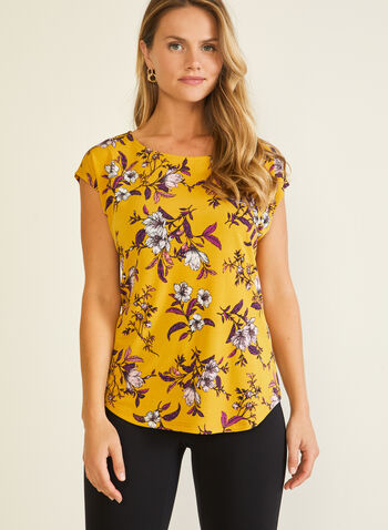 Floral Print Short Sleeve Top, Yellow,  top, short sleeves, floral, jersey, fall winter 2020