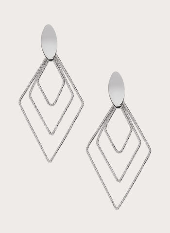 Geometric Earrings , Silver, hi-res