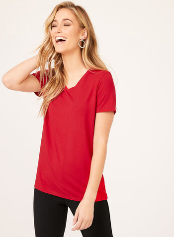 V-Neck T-Shirt, Red, hi-res