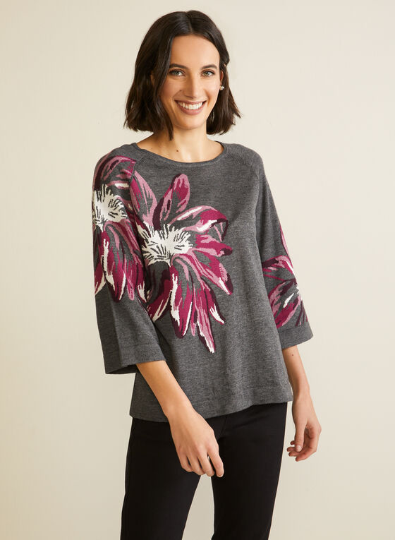 Pull floral à manches cloche, Rouge