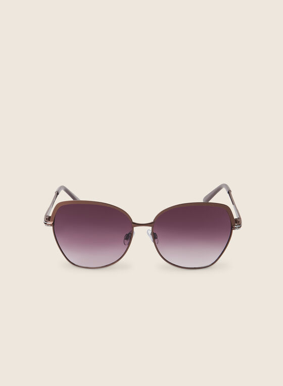 Metal Square Sunglasses, Brown