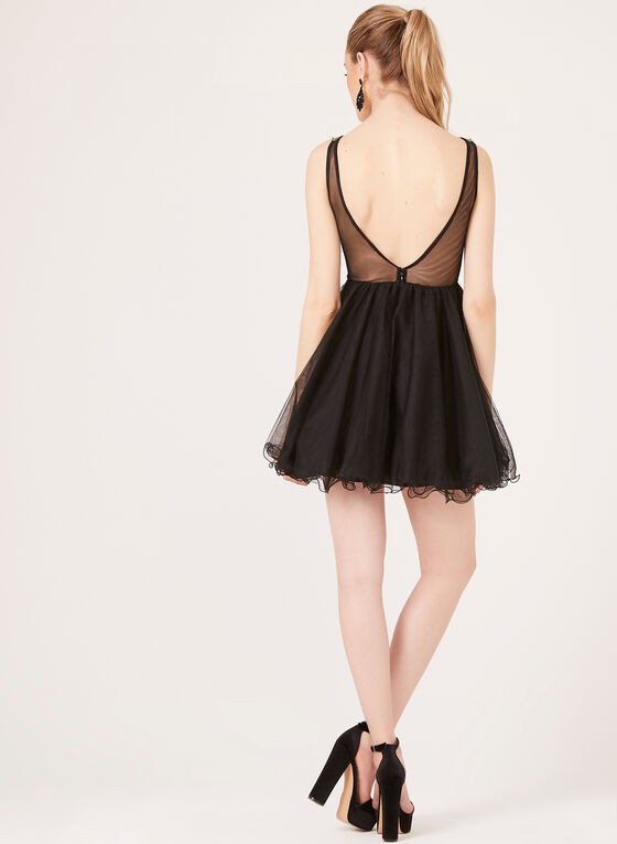 Sleeveless Illusion Waist Dress, Black, hi-res