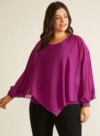 Asymmetric Chiffon Poncho Blouse, Purple,  top, blouse, poncho, chiffon, layered, asymmetric, long sleeves, fall winter 2020