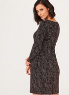 Metallic Bell Sleeve Dress, Black, hi-res