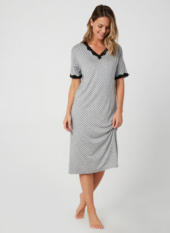 Polka-Dot Print Nightgown, Grey, hi-res,  fall winter 2019, short sleeves