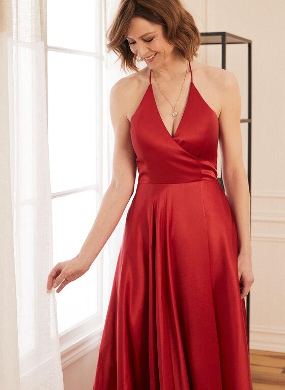 Satin Halter Dress, Red