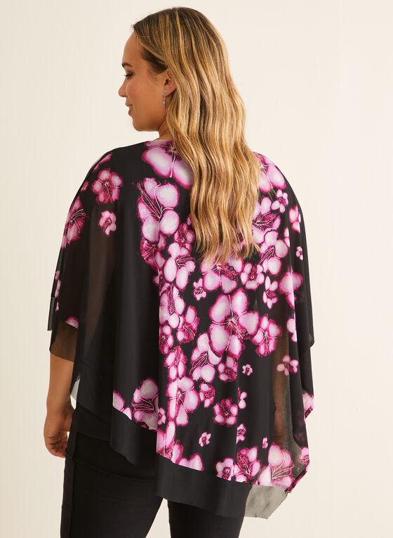 Floral Chiffon Poncho Blouse, Multi