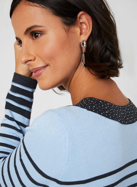 Long Sleeve Stripe Print Top, Grey, hi-res