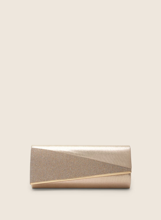 Two-Tone Metallic Clutch, Gold