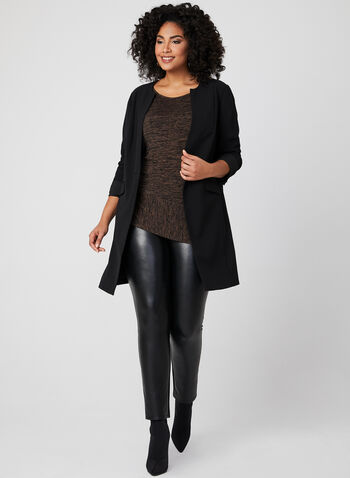 ¾ Sleeve Asymmetrical Tunic, Black, hi-res