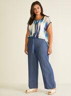 Pantalon moderne à jambe large en tencel, Bleu