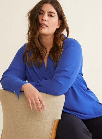 Long Sleeve Crepe Blouse, Blue,  blouse, long sleeves, v-neck, top, crepe, fall winter 2020