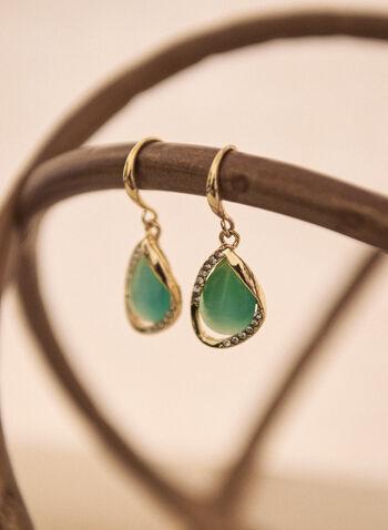 Boucles d'oreilles pendante à pierre, Vert,  accessoire, bijou, boucles d'oreilles, pierre, oeil de chat, doré, or, cristaux, crochet, printemps été 2021
