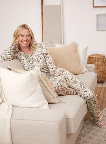Haut de pyjama à motif cachemire, Vert,  haut, t-shirt de nuit, poche, pyjama, encolure dégagée, col dégagé, manches longues, motif, imprimé, cachemire, paisley, automne 2021