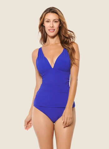 Christina - Monochrome Tankini With Bottom, Blue,  swimsuit, swimwear, two-piece, tankini, monochrome, spring summer 2020
