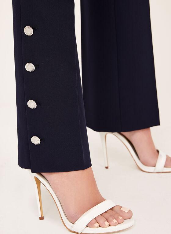 Pantalon coupe moderne à jambe droite et boutons, Bleu, hi-res