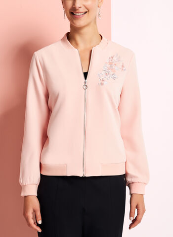 Embroidered Floral Bomber Jacket, Pink, hi-res