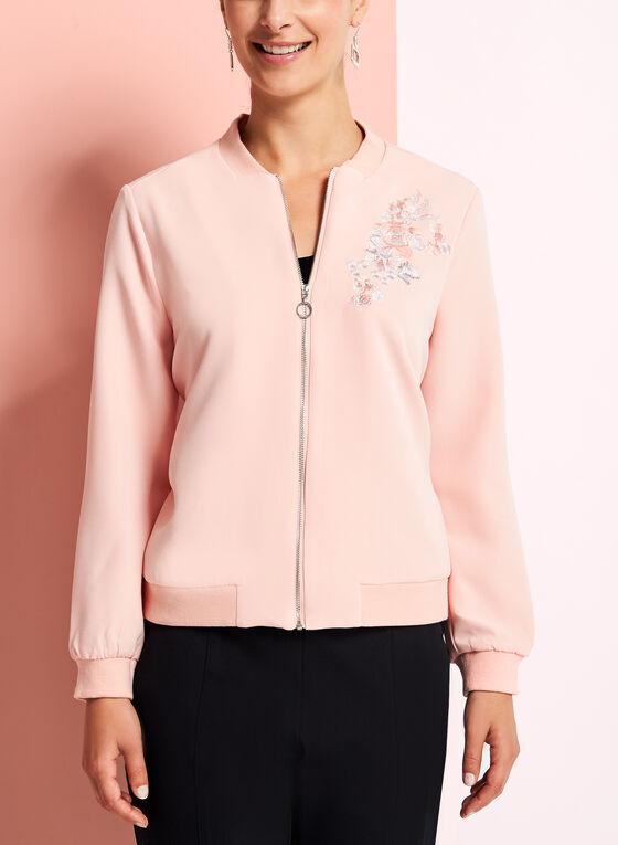Embroidered Floral Bomber Jacket, Pink, hi-res