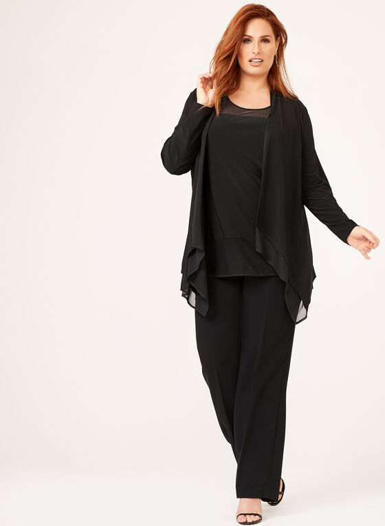 Layered Open Front Cardigan , Black, hi-res