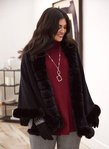 Écharpe à bordure en fausse fourrure, Noir,  accessoires, écharpe, automne hiver 2021, fausse fourrure, poncho, foulard
